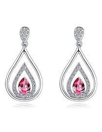 Fashion Plum Red+silver Color Water Drop Shape Decorated Earrings
