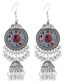 Sweet Red+blue Bells Pendant Decorated Long Earrings