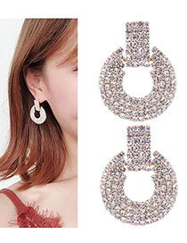 Fashion Silver Color Full Diamond Decorated Earrings