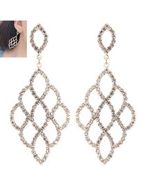 Fashion Gold Color Full Diamond Decorated Hollow Out Earrings