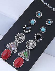 Fashion Multi-color Triangle Shape Decorated Earrings (12 Pcs )