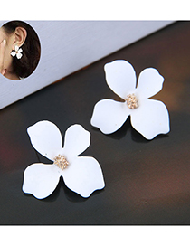 Sweet White Flower Shape Design Pure Color Earrings