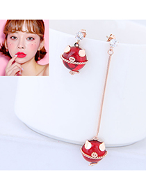 Fashion Rose Gold Samll Pig Shape Pendant Decorated Earrings
