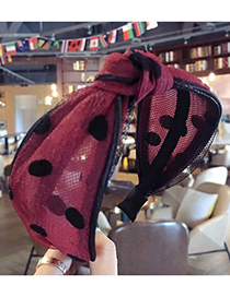 Fashion Plum Red Dots Pattern Decorated Hair Hoop