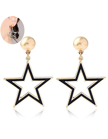 Fashion Gold + Black Metal Five-pointed Star Stud Earring