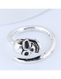 Fashion Silver Skull Open Ring