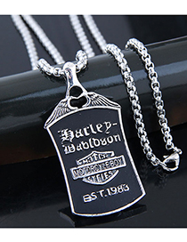 Fashion Silver Metal Pirate Shield Long Necklace