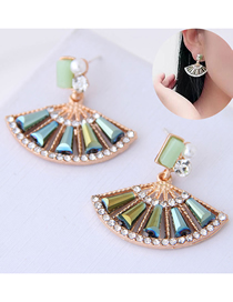 Fashion Green Scalloped Earring