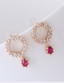 Fashion Gold 925 Silver Needle Copper Inlaid Zircon Ring Drop Earrings