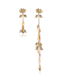 Fashion Gold Metal Lotus Asymmetrical Earrings