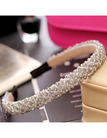 Fashion Gray Crystal Female Beaded Woven Wide Headband