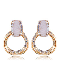 Fashion Gold Metal Flash Drill Ring Earrings