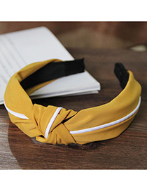 Fashion Yellow Splicing Knotted Widened Headband