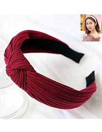 Fashion Red Wine Knitted Cross Knotted Headband