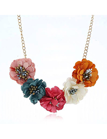 Fashion Multi-color Cloth Flower Necklace