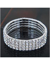 Fashion Silver (four Rows) Metal Diamond Bracelet