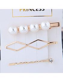 Fashion Gold Metal Side Three-piece Hair Clip