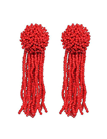 Fashion Red Preparation Of Tassel Earrings