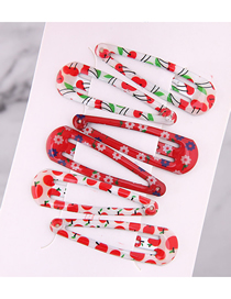 Fashion Color Children's Cherry Pattern Water Drop Hair Clip