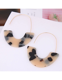 Fashion Khaki Geometric Crescent Moon Leopard Earrings