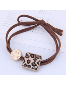 Fashion Brown Metal Smiley Leopard Square Hair Rope
