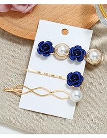 Fashion Blue Flower Three-piece Hair Clip