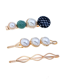 Fashion Blue Pearl Three-piece Hair Clip