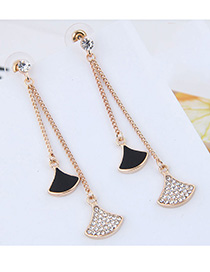 Fashion Black 925 Silver Triangle Earring