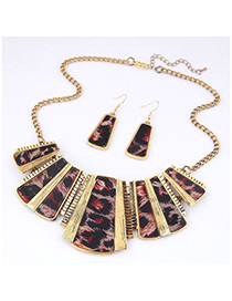 Fashion Red Metal Leopard Geometric Necklace Earring Set