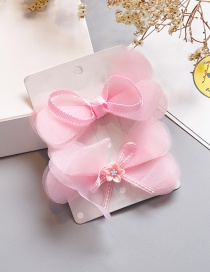 Fashion Pink Bowknot Shape Decorated Hair Clip(2pcs)