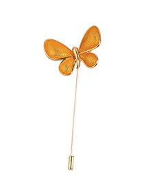 Fashion Yellow Butterfly Shape Design Brooch
