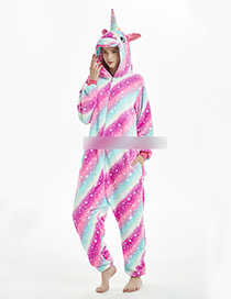 Fashion Pink+blue Unicorn Shape Decorated Stripe Pattern Jumpsuit(for Adult)