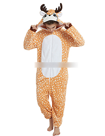 Fashion Light Orange Deer Shape Deocrated Jumpsuit(for Adult)