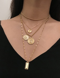 Simple Gold Color Square Shape Decorated Necklace