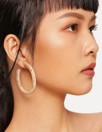 Fashion White Circular Ring Shape Decorated Earrings