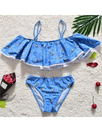 Sexy Blue Flower Pattern Decorated Swimwear