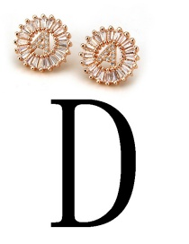Fashion Rose Gold Letter D Shape Decorated Earrings