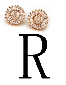 Fashion Rose Gold Letter R Shape Decorated Earrings
