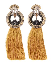 Fashion Brown Geometric Shape Decorated Long Tassel Earrings