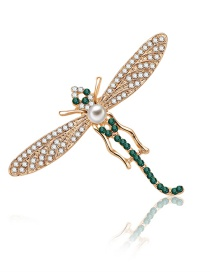 Fashion Gold Color+green Dragonfly Shape Decorated Brooch