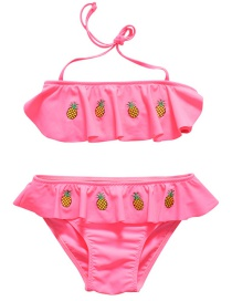Sexy Pink Pineapple Pattern Decorated Swimwear(2pcs)