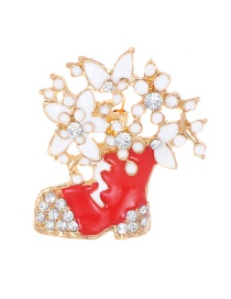 Fashion Gold Color+red Hollow Out Design Shoe Shape Brooch