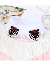 Fashion White Leopard Shape Decorated Fake Collar