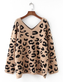 Fashion Khaki Leopard Pattern Decorated V Neckline Sweater