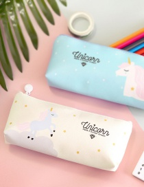 Fashion Beige Unicorn Pattern Decorated Pencil Bag