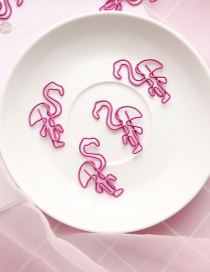 Fashion Pink Flamingo Shape Decorated Note Clip (1 Pc)