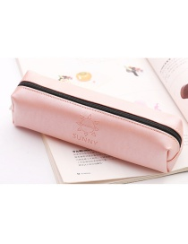 Simple Pink Pure Color Decorated Pencil Bag