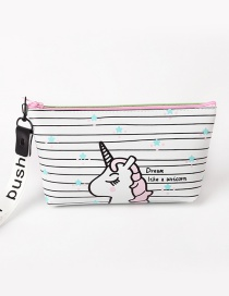 Fashion White Unicorn&stripe Pattern Decorated Storage Bag