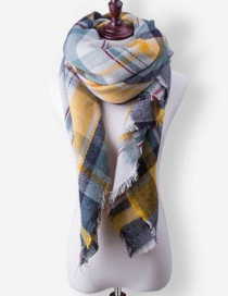 Fashion Yellow+gray Grid Pattern Decorated Scarf