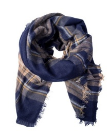 Fashion Navy Color Matching Decorated Scarf